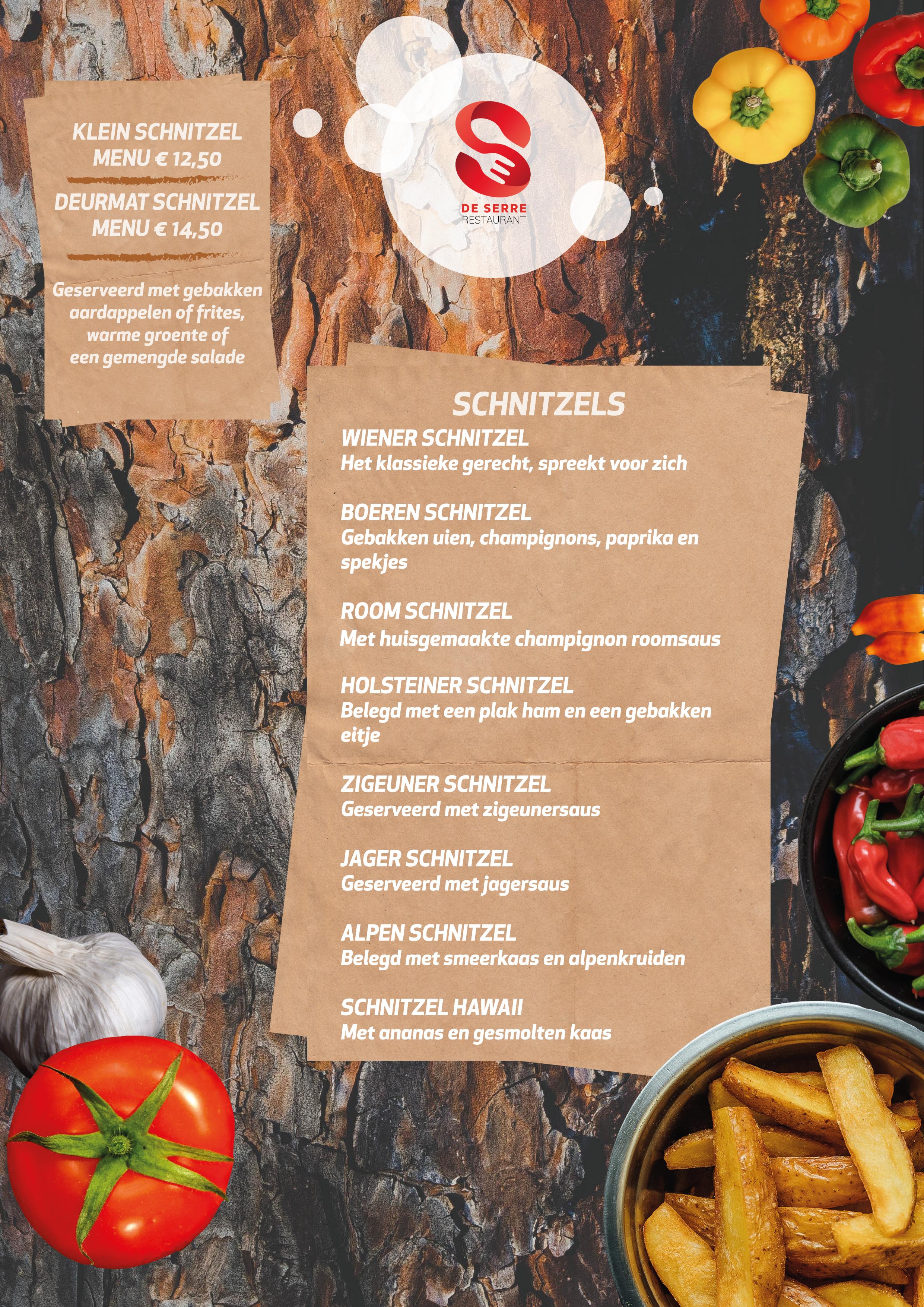 Restaurant de Serre schnitzel menu inhoud 2020